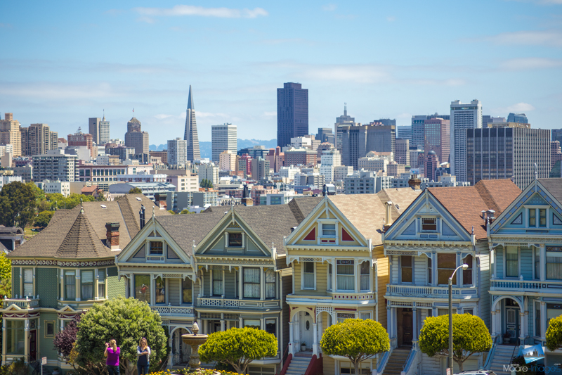 The Painted Ladies with the San Francisco Skyline